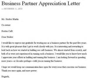 Thank You Letter New Business Partner business partner appreciation letter www sampleletters org