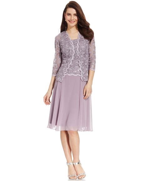 r m richards dresses r m richards r m richards sequined lace chiffon dress and jacket in gray orchid lyst