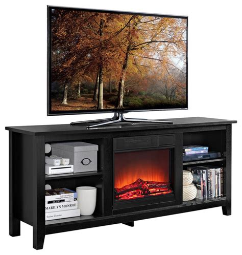 58 quot black wood tv stand with fireplace insert