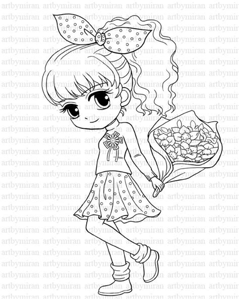 digi st isabel s bouquet pretty girl coloring page