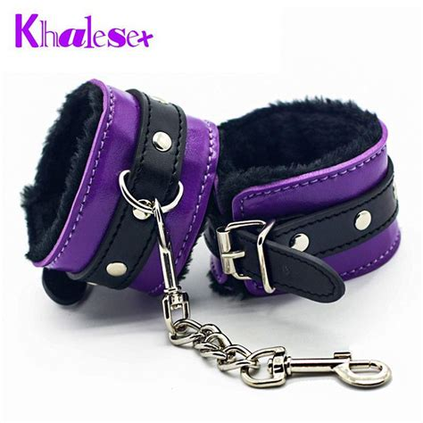 comfortable handcuffs purple soft pu leather handcuffs comfortable furry fetish