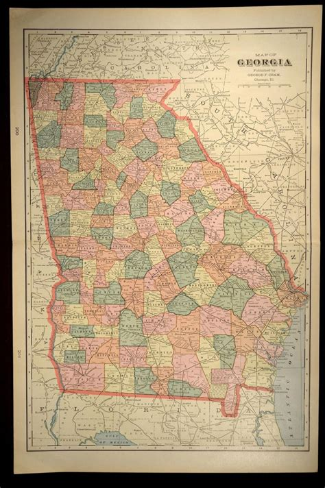 antique state maps map large early 1900s original state 1901