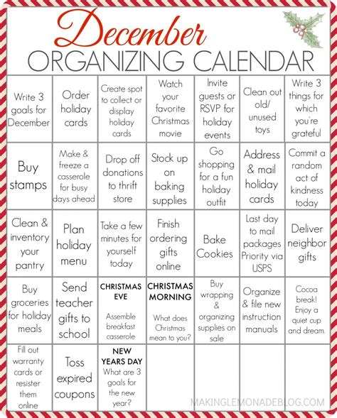 printable calendar to do list free printable december organizing calendar your entire
