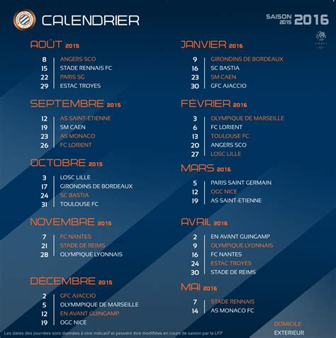 Calendrier Psg 2015 Calendrier Angers 224 La Mosson Pour D 233 Buter La Saison