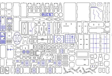 Dollhouse Drawing A Model For Laser Cutting Download Cdr Dxf Laser Cut House Template