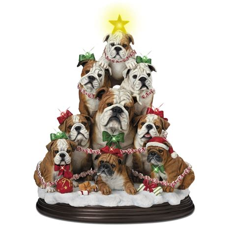 bulldog family christmas tree the danbury mint