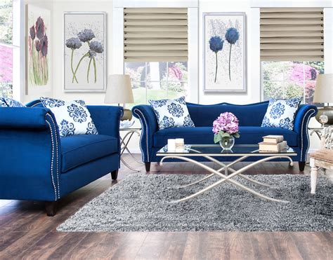 royal blue sofa set furniture of america royal blue anita 2 piece sweetheart