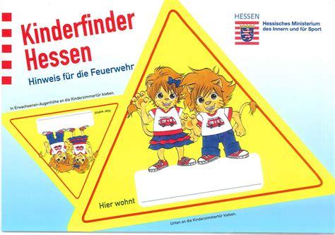 Kinderfinder Aufkleber Kostenlos Bestellen by Kinderfinder F 252 R Die Zimmert 252 R Feuerwehr Hessen