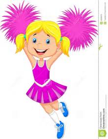 Cartoon cheerleader with pom poms royalty free stock image image
