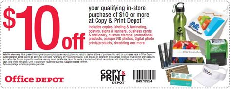 Sign Up For Office Depot Coupons Office Depot 10 10 Coupon For Copy And Print
