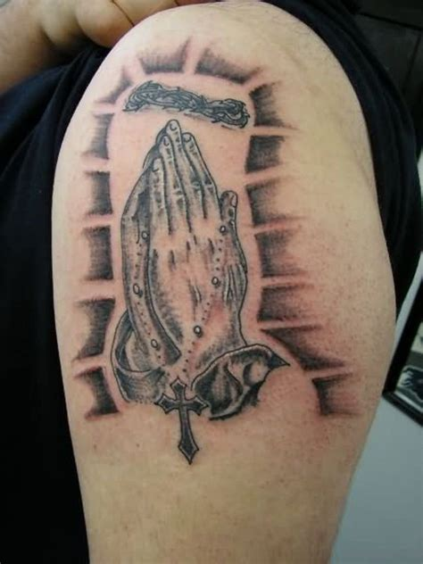 50 Outstanding Praying Hands Tattoos On Shoulder Small Religious Tattoos Designs