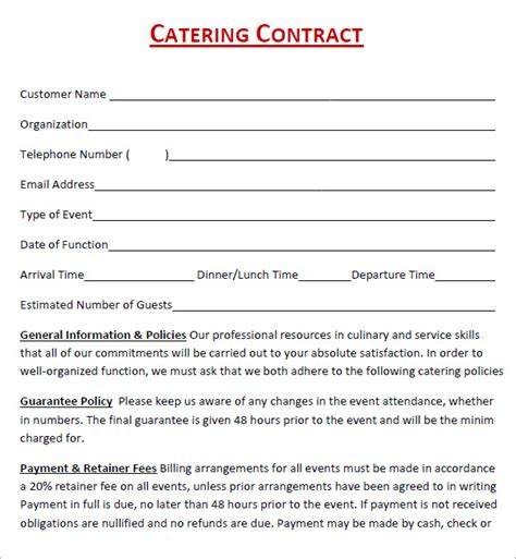 catering contract templates catering contract template free template design