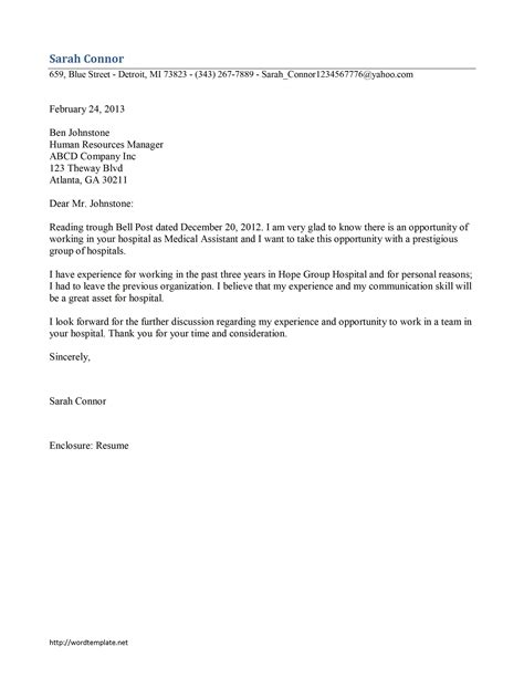medical assistant cover letter template free microsoft
