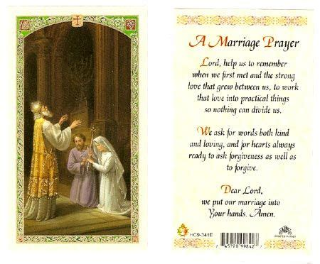 Wedding Blessing Catholic by A Marriage Laminated Prayer Card Marriage Prayer
