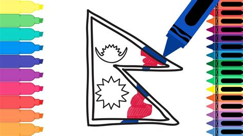 How To Draw Nepal Flag Coloring Pages For Kids Drawing