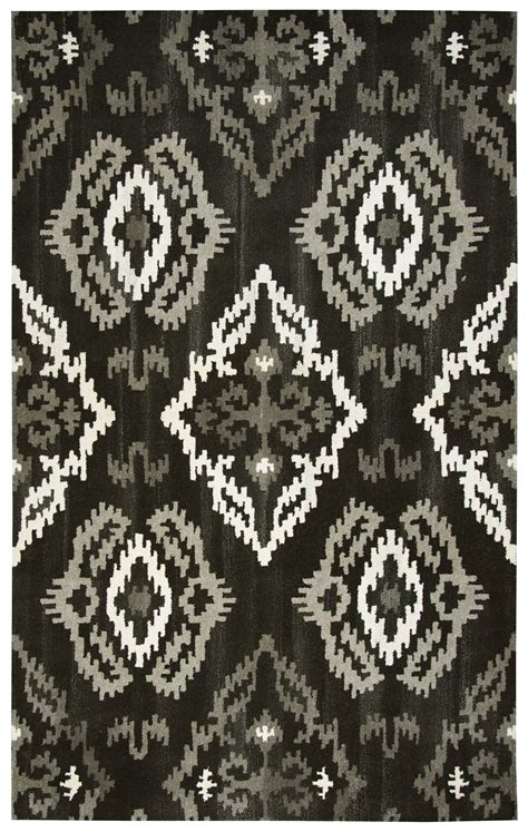 Black And White Ikat Rug by Suffolk Ikat Medallion Wool Area Rug In Black 8