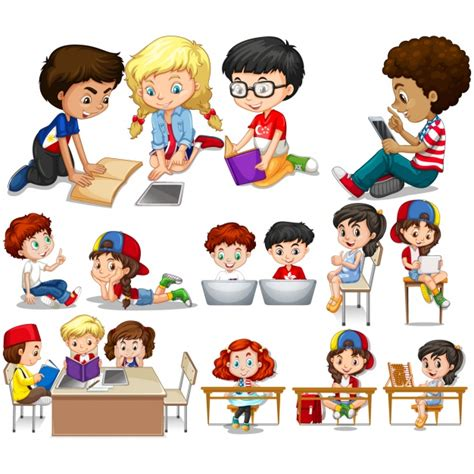 imagenes de niños jugando y estudiando dise 241 os de ni 241 os estudiando descargar vectores premium