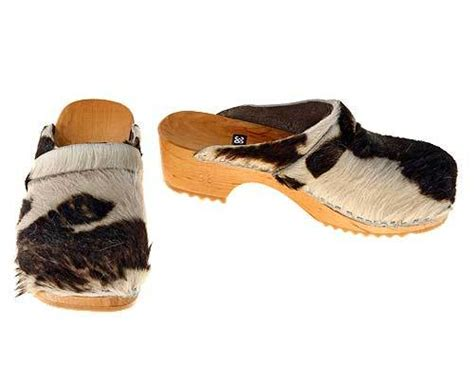 Cowhide Clogs - cowhide clogs in brown white