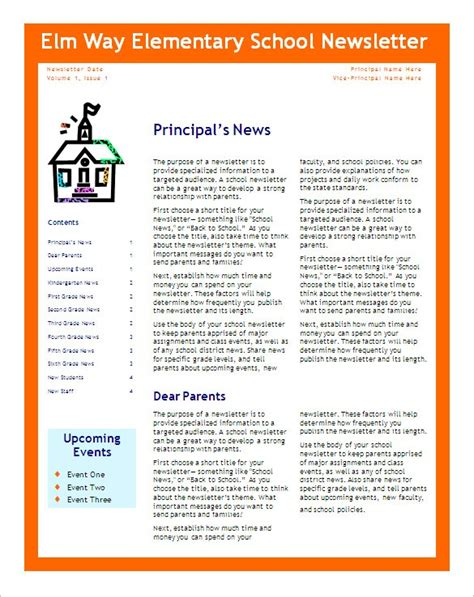 School Newsletter Templates Madinbelgrade Pdf Newsletter Templates