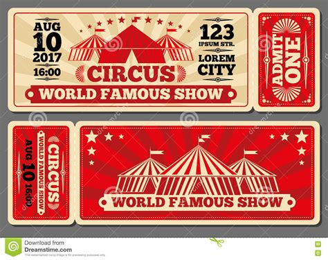 circus ticket template free circus magic show entrance vector tickets templates