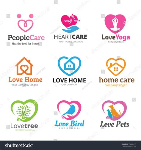 logo collectionheart logo conceptvector logo stock