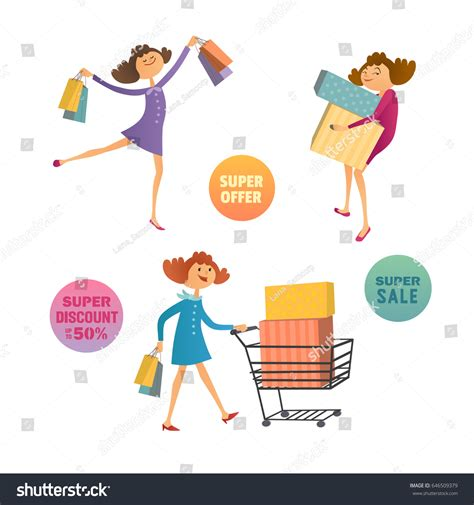 Consumer Pattern En Francais | happy consumers concept hand drawn shoppers stock vector