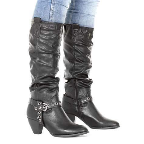 womens western cowboy ruched knee high leather