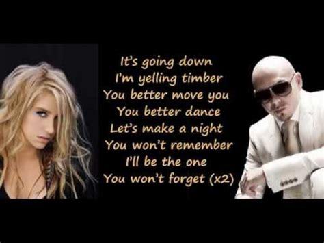 you better move on lyrics pitbull feat ke ha kesha timber lyrics on screen