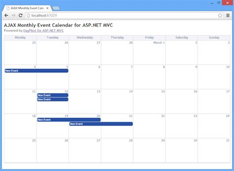 Design Calendar In Asp Net | monthly event calendar for asp net mvc and jquery tutorial