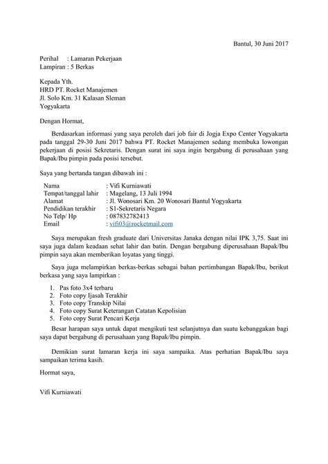 Contoh Cover Surat Lamaran Kerja by Contoh Surat Lamaran Kerja Yang Menarik Dan