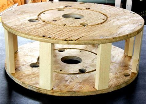 spool ottoman rotating cable spool coffee table pallet place