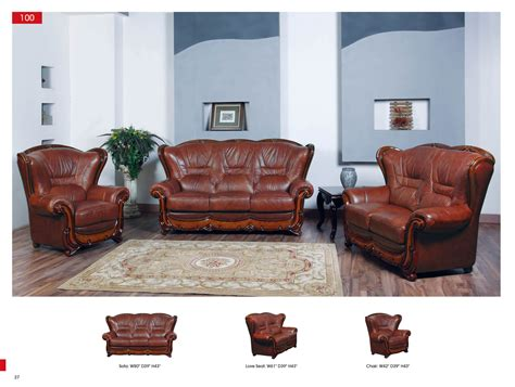 3 Pc Leather Living Room Set Antique Recreations Furniture Living Room Sets