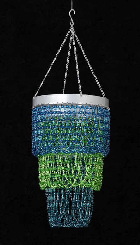 Green Beaded Chandelier 3 Tiers Beaded Chandelier Blue And Green