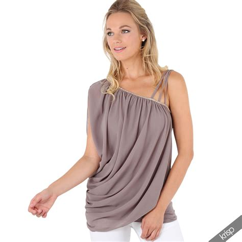 womens diamante one shoulder sleeve strappy drape chiffon tunic top blouse