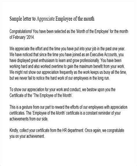 appreciation letter for employee of the month 42 appreciation letters in pdf sle templates