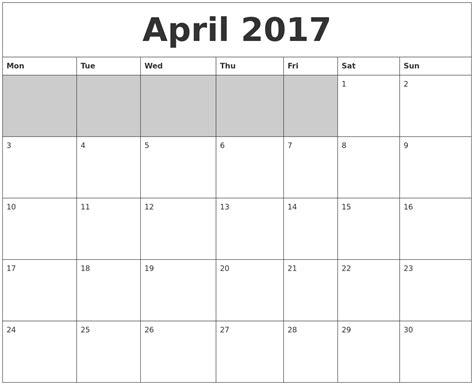 printable calendar 2017 blank april 2017 blank printable calendar