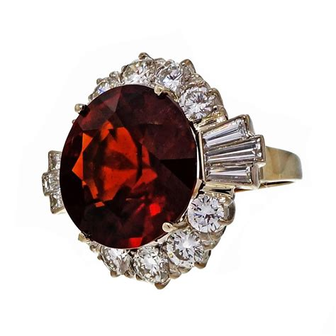 Hessonite Garnet 3 04 Crt hessonite garnet gold cocktail ring for