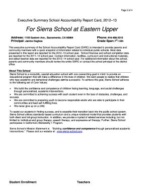 school accountability report card template report card template forms fillable printable sles