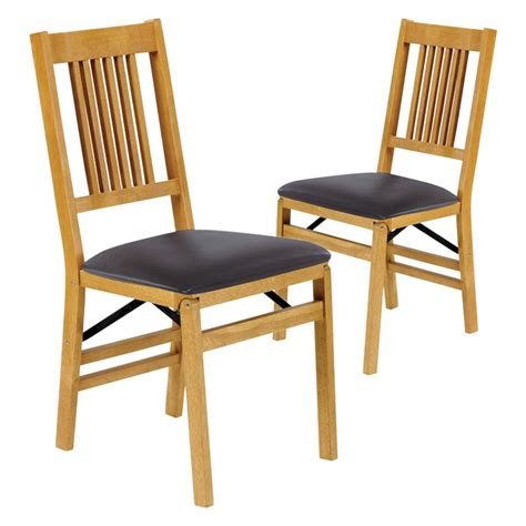 stakmore true mission wood folding chairs with vinyl seat