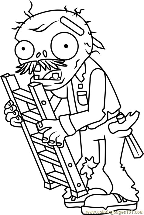 ladder zombie coloring page free plants vs zombies
