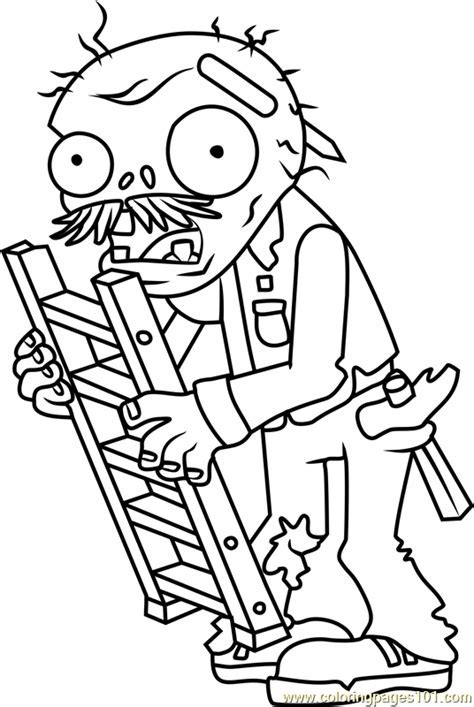 ladder zombie in plants vs zombies coloring page photos
