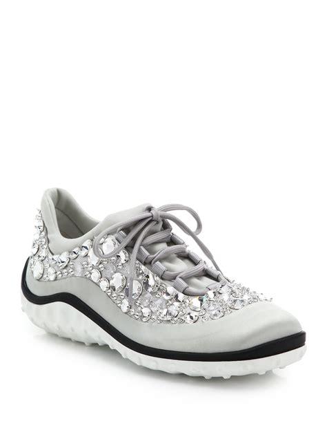 Miu Sneker Swaroksy miu miu astro swarovski satin running sneakers in metallic lyst