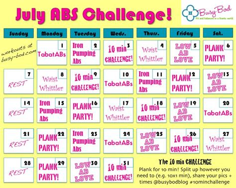 abs challenge for july 10min workouts to work your whole all month who s doing it