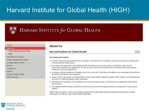 Harvard Emergency Radiology Mba by Itiatives In Global Health And International Outreach At