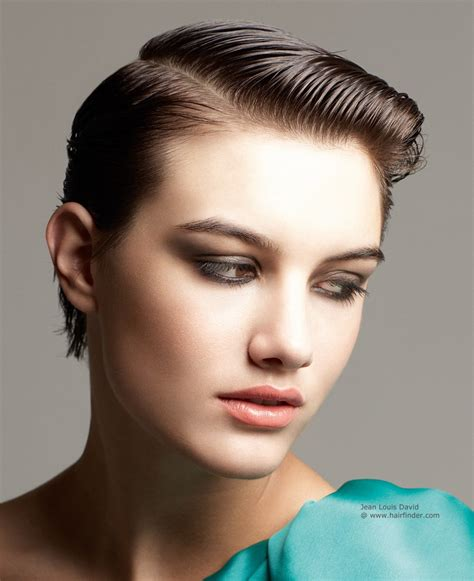 Short hairstyle transformed into a sleek elegant wet look