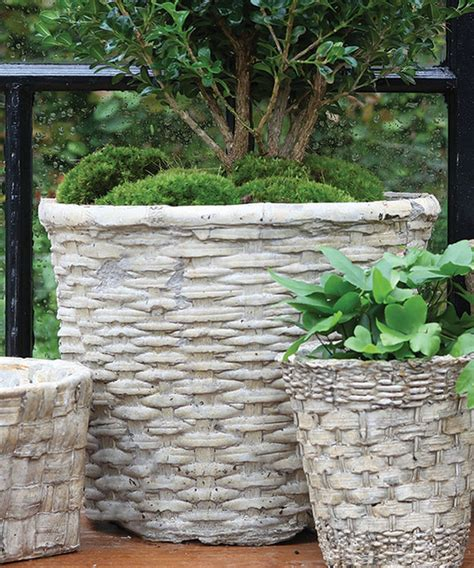 Concrete Flower Basket Planter by Cement Basket Twined Weave Grande Transitional