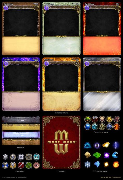custom trading cards template mage wars card assets by deligaris on deviantart card