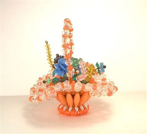 Bros Mini Oshibana Handmade Nbc 001 Vintage Mini Flowers In Basket Bead And Safety Pin Craft