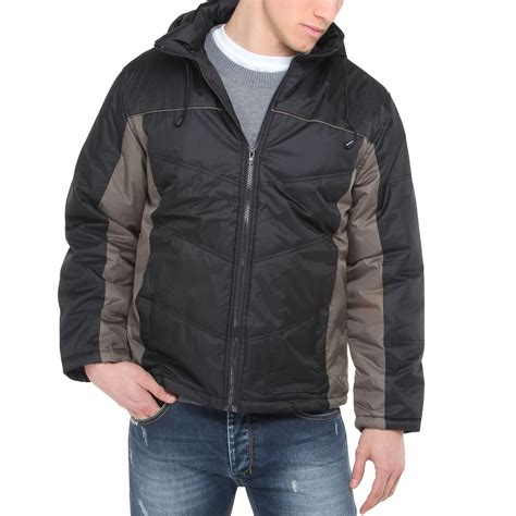 Mens Quilted Parka by Mens Padded Quilted Zip Up Hooded Waterproof Jacket