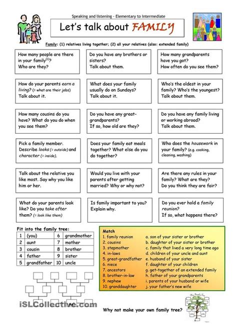printable english conversation worksheets let s talk about family worksheet free esl printable